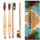 4 cepillos de dientes de bambú para niños - cerdas de carbón ultra suaves, mango de madera biodegradable y libre de plástico, vegano, ecológico, sin BPA ni BPS, cerdas densas y finas, cuatro colores