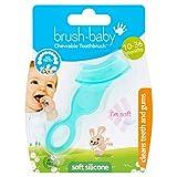 Cepillo blando masticable de Brush-Baby para bebés y niños pequeños | Dientes de bebé - Dentición | 10-36 meses | Limpia suavemente los dientes y calma las encías doloridas | Azulado, Pack de 1